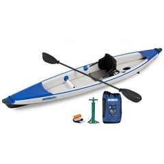 Sea Eagle RazorLite 393rl Inflatable Kayak top display view with the bag and pump sitting next to the Sea Eagle inflatable kayak.