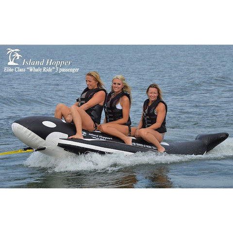 "Island Hopper 3 Passenger Banana Boat ""Whale Ride"" Tube right front view with 3 riders on the lake"