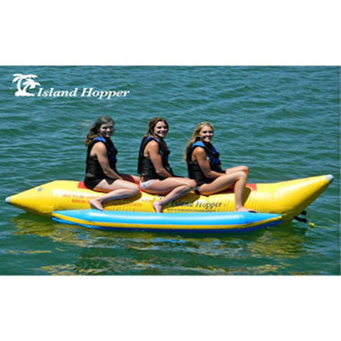 Island Hopper 3 Person Banana Boat Tube side view with 3 girls sitting on the 3 person banana boat on the lake.