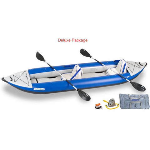 Sea Eagle Explorer 420X Tandem Inflatable Kayak Deluxe package top and side display view with the bag and pump sitting next to the Sea Eagle inflatable kayak.