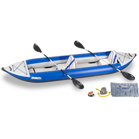 Sea Eagle Explorer 420X Tandem Inflatable Kayak top and side display view with the bag and pump sitting next to the Sea Eagle inflatable kayak. Blue/Grey