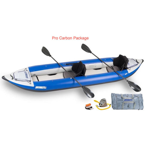 Sea Eagle Explorer 420X Tandem Inflatable Kayak pro carbon top and side display view with the bag and pump sitting next to the Sea Eagle inflatable kayak.