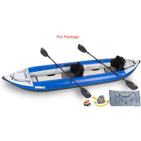 Sea Eagle Explorer 420X Tandem Inflatable Kayak Pro Packge top and side display view with the bag and pump sitting next to the Sea Eagle inflatable kayak. top and side display view with the bag and pump sitting next to the Sea Eagle inflatable kayak.