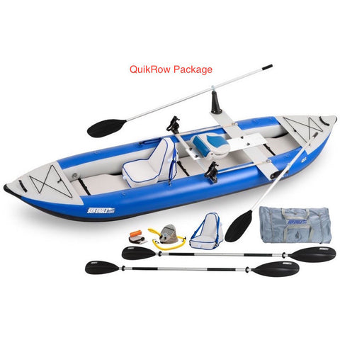 Sea Eagle Explorer 420X Tandem Inflatable Kayak QuikRow Package top and side display view with the bag and pump sitting next to the Sea Eagle inflatable kayak.