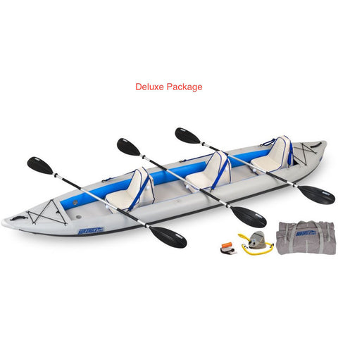 Sea Eagle FastTrack 465FT Tandem Inflatable Kayak Deluxe Package display view.