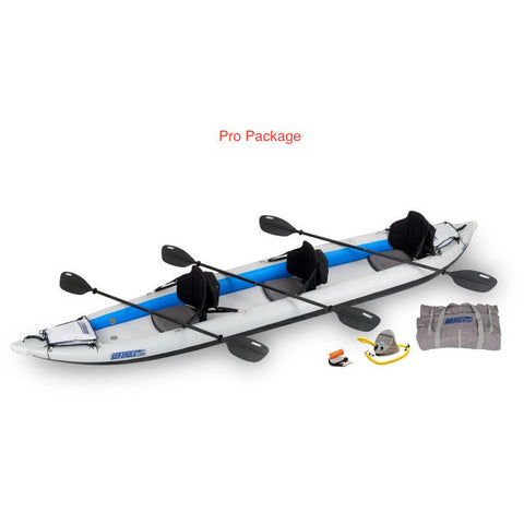 Sea Eagle FastTrack 465FT Tandem Inflatable Kayak Pro Package display view with carry bag and pump.