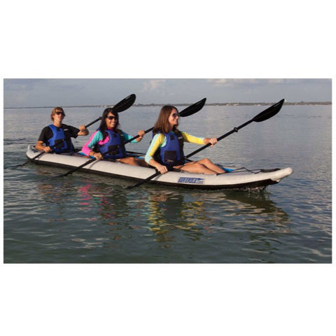 Sea Eagle FastTrack 465FT Tandem Inflatable Kayak in use by 3 girls out on the lake.