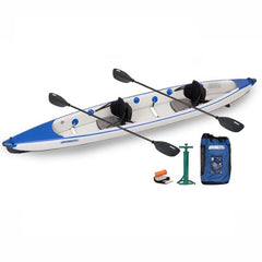 Blue and Grey Sea Eagle RazorLite 473rl Tandem Inflatable Kayak  top display view with the bag and pump sitting next to the Sea Eagle inflatable Kayak.