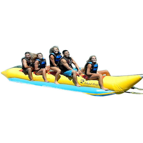 Yellow Island Hopper 5 Person Banana Boat Tube side view with 5 kids.  Image on white background.