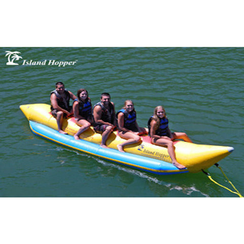 Top/Side view of the Island Hopper 5 Person Banana Boat Tube.  5 kids sitting on the inflatable banana boat tube ready to be pulled on the water.