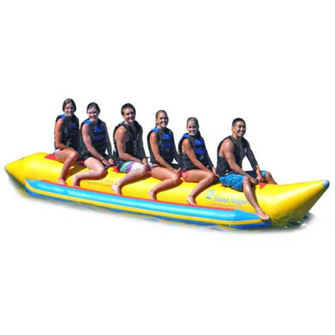 Island Hopper 6 Person Banana Boat Tube side view.  Yellow inner tube with 6 passengers.  Image on a white background.