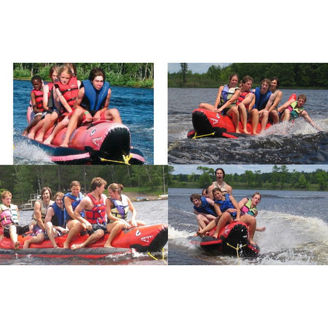 Cross section of 4 pictures of different angles of kids riding Island Hopper 6 Person Red Shark Banana Boat Towable on the water.