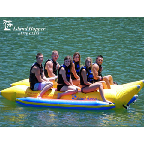 Island Hopper 6 Person Towable Banana Boat Tube side view of 6 people on the side by side inner tubes.