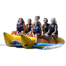 Front view of the side by side Island Hopper 6 Person Towable Banana Boat Tube