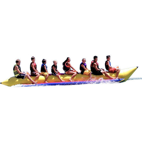 Yellow Island Hopper 8 Person Towable Banana Boat Tube Side view, image on a white background.