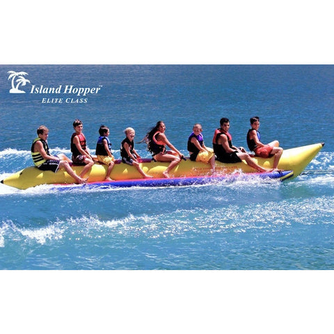 Island Hopper 8 Person Towable Banana Boat Tube side view in action on the water.