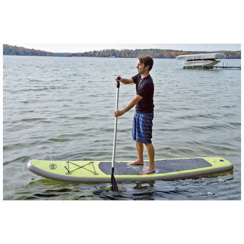 Outdoor Tuff 8ft Inflatable Stand Up Paddle Board  paddling on the lake