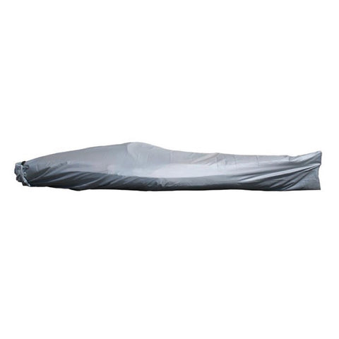 Light grey Advanced Elements Kayak Cover shown covering a kayak.