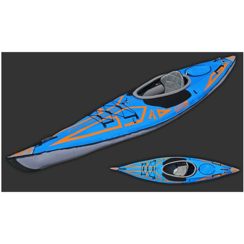 Display view and top view of the Blue and Orange Advanced Elements AdvancedFrame Expedition Elite Solo Inflatable Kayak