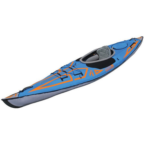 Advanced Elements AdvancedFrame Expedition Elite Solo Inflatable Kayak blue with orange highlights, grey side walls, and grey interior.  Image on white background.