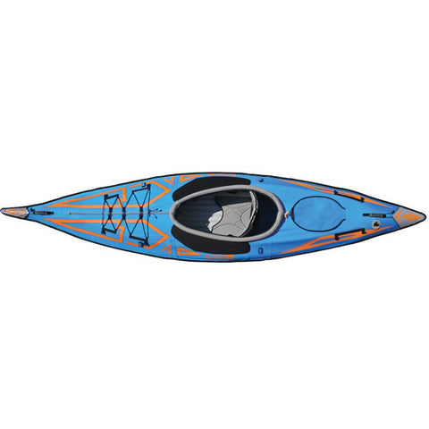Top view of the Blue and Orange design of the Advanced Elements AdvancedFrame Expedition Elite Solo Inflatable Kayak