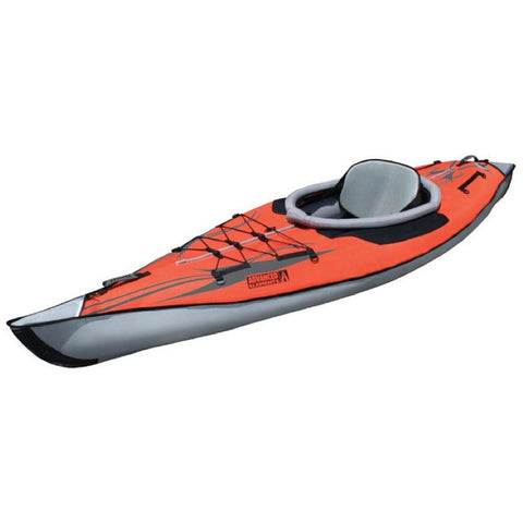 Top and front display view of the red Advanced Elements Solo AdvancedFrame Inflatable Kayak with grey accents.  Image on white background.
