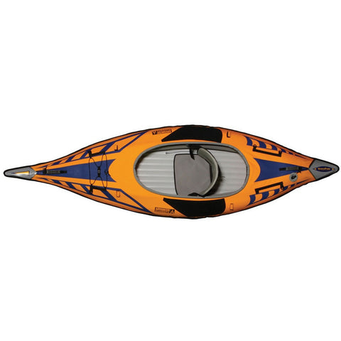 Skyview of the orange and blue with grey interior Advanced Elements 1 Person AdvancedFrame Sport Inflatable Kayak on a white background.