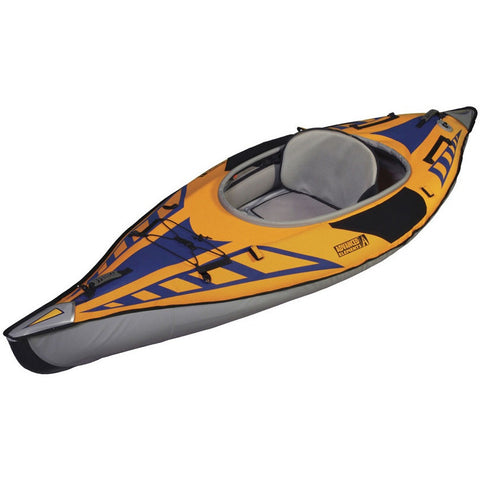 Advanced Elements 1 Person AdvancedFrame Sport Inflatable Kayak display view.  Orange and blue inflatable kayak design with grey interior, nose, and side walls. Image on a white background.
