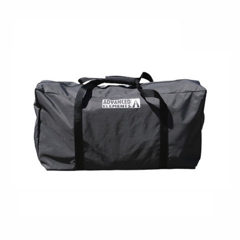 Black carry bag for the Advanced Elements 1 Person AdvancedFrame Sport Inflatable Kayak with grey Advanced Elements kayak logo.