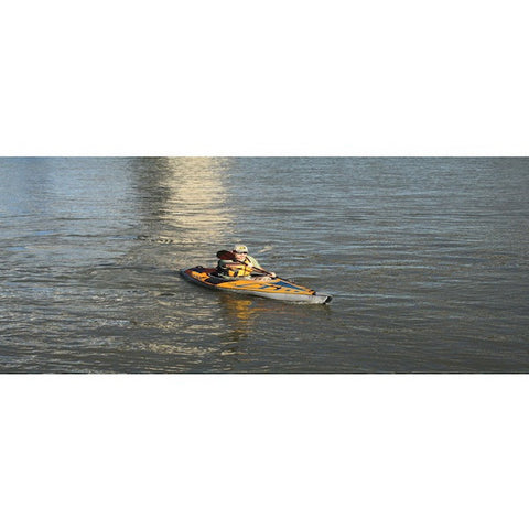 Kayaker in an Advanced Elements 1 Person AdvancedFrame Sport Inflatable Kayak out on the river.