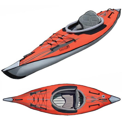 Advanced Elements Solo AdvancedFrame Inflatable Kayak top view and top/front view of the red inflatable kayak with grey interior, walls, and nose.