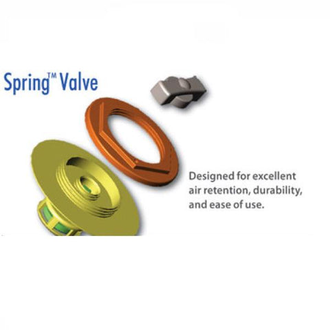 Advanced Elements 1 Person AdvancedFrame Sport Inflatable Kayak Spring Valve with descriptive diagram. Orange and yellow spring valve.