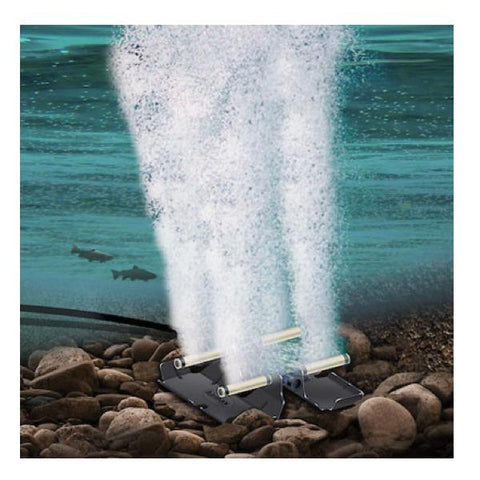 AirMax PondSeries Aeration System show in an illustration with the aeration diffuser on the floor of the pond.  The Pond Aerator Pump pushes air through the diffuser to keep your pond healthy and free of muck.