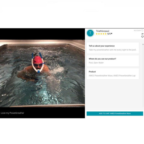Review of the Ameo Powerbreather Lap in an indoor personal pool.