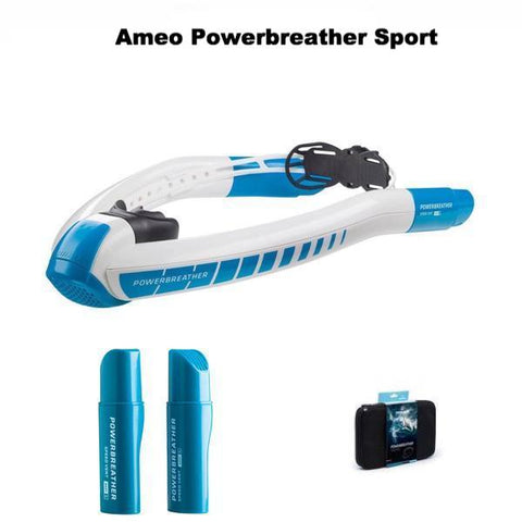 Ameo Powerbreather Sport shown along with the Speed Vent Easy attachments and the case for the black Powerbreather.
