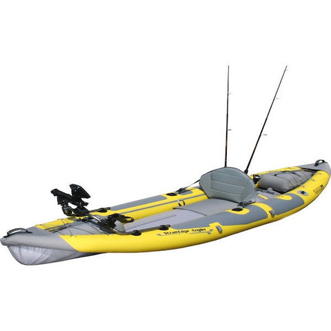 Advanced Elements StraitEdge Angler Inflatable Kayak side top view with 2 fishing poles in rod holders.