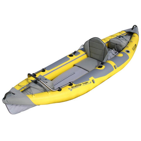 Front and side Advanced Elements StraitEdge Angler 1 Person Inflatable Kayak yellow and grey design.