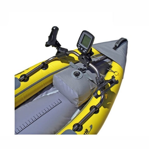 Close up view of the accessory mounting bar on the nose of the yellow and gray Advanced Elements StraitEdge Angler 1 Person Inflatable Kayak