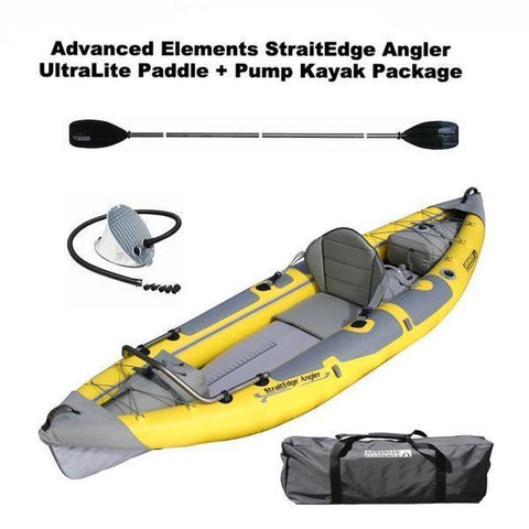Advanced Elements StraitEdge Angler 1 Person Inflatable Fishing Kayak - Yellow Discount Kayak Package