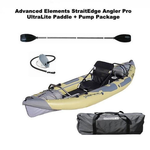 Advanced Elements StraitEdge Angler Pro 1 Person Inflatable Fishing Kayak Discount Paddle Package