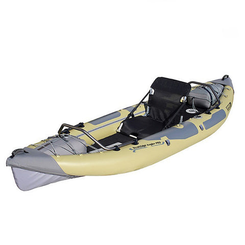 Top/Front Display view of Advanced Elements StraitEdge Angler Pro 1 Person Inflatable Kayak. Sage/Grey with Black seat.