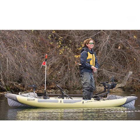 Woman fishing in her Advanced Elements StraitEdge Angler Pro 1 Person Inflatable Kayak on the water.