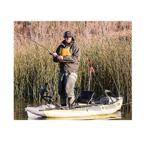 Man fishing in a Sage and Grey Advanced Elements StraitEdge Angler Pro Solo Inflatable Kayak