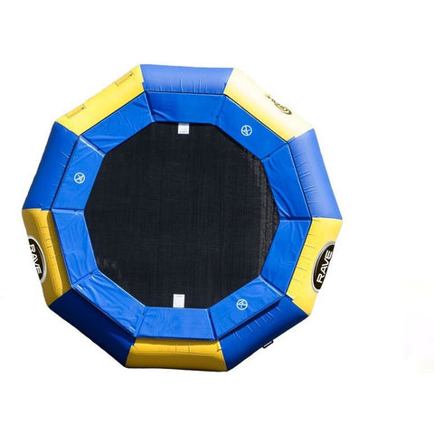 Top view of the Rave Aqua Jump 120 Eclipse Water Trampoline with blue and yellow alternating color design and black water trampoline surface. Water Trampoline is on a white background.