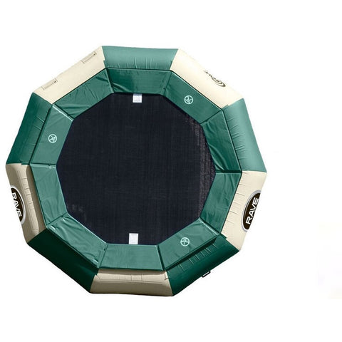 Rave Aqua Jump 120 Eclipse Water Trampoline - Water Trampoline -  Rave - Splashy McFun - Northwoods design with hunter green and tan alternating panel design with interior hunter green ring around the 12 ft trampoline surface