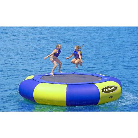 2 kids jumping on the yellow and blue Rave Aqua Jump Eclipse 150 Water Trampoline out on the lake.