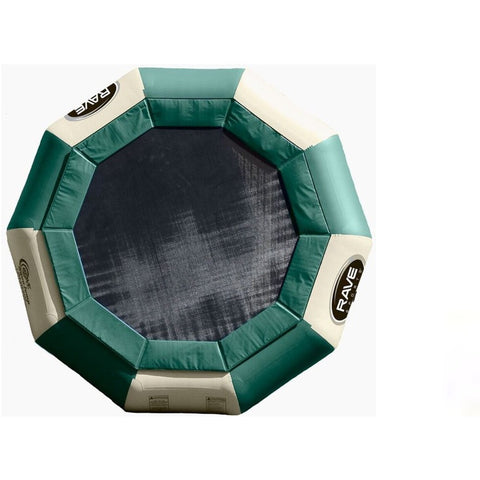 Rave Aqua Jump Eclipse 150 Water Trampoline Northwoods edition. Green and tan design with black jumping surface.
