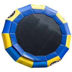 Yellow and Blue Rave Aqua Jump Eclipse 200 Water Trampoline with black jumping surface.  Sky view on a white background.