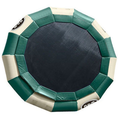 Sky view of Green and Tan Rave Aqua Jump Eclipse 200 Water Trampoline Northwoods design.