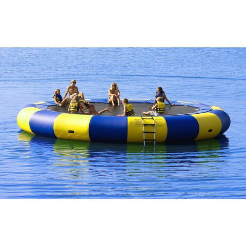 Several kids playing on a yellow and blue Rave Aqua Jump Eclipse 200 Water Trampoline out in the lake.